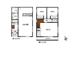 ■建物面積:1階44.55㎡ 2階45.17㎡ 土地面積:123.27㎡ <越谷市宮本町 中古戸建>