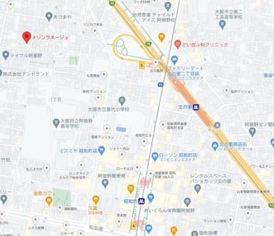 【地図】OsakaMetro谷町線「文の里駅」7分!