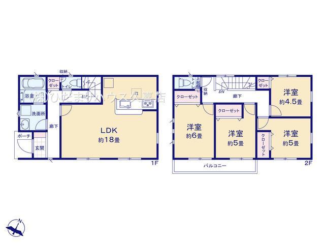 LDK18帖、2階に4部屋ございます♪