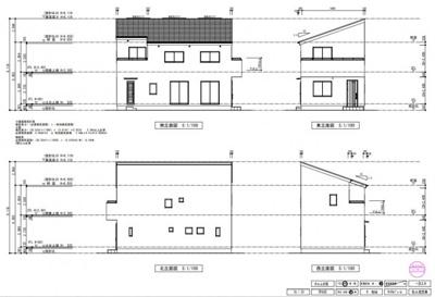 【東西南北立面図】 片流れ屋根が特徴的なモダンスタイルなデザイン。 勾配(屋根の傾き)も緩やかなので、 洗練されたデザインの中にも落ち着いた外観に。 バルコニー位置も配慮がなされた配置となってます。