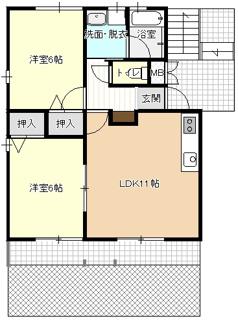 1階の図面です。2階はバルコニーです。