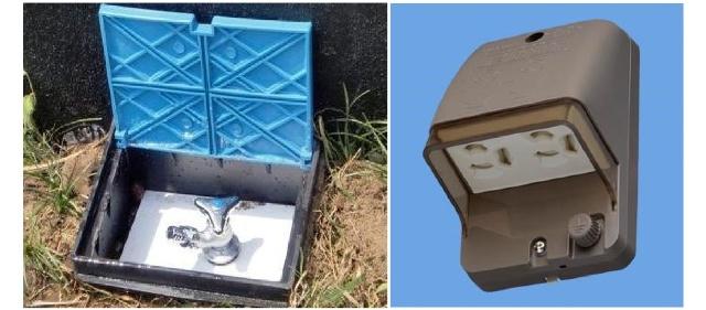 外部水栓・外部電源。ガーデニング、車の掃除やイルミネーション、電気自動車の充電にも使えます。