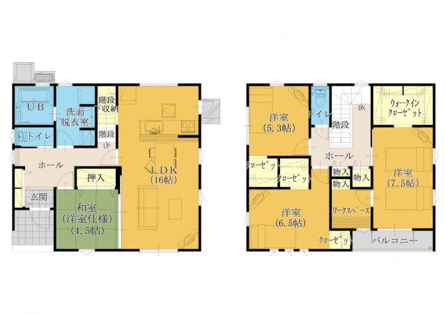 2号棟 完成予想図。駐車場3台可能。