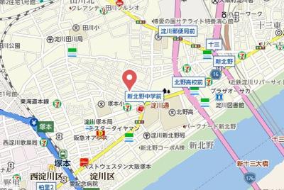 【地図】アスヴェル新北野モスト