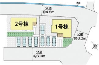 1号棟区画図。駐車4台可能。車庫入れが苦手な方でも楽々できる前面道路6m。