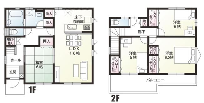 A号棟 4LDK 和室はリビングを通らずに直接出入りできるので客間として利用できます。