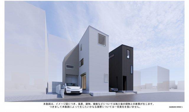 地下鉄空港線『西新』駅徒歩8分の新築戸建!!スタイリッシュな外観