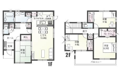 南玄関・4LDK+パントリー+WIC  LDK16.6/和室6.0/洋室8.3/洋室6.0/洋室6.0