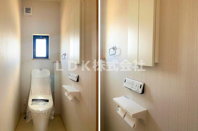 トイレ・2F/サブトイレですが、空間の広さは1.0帖あり、温水洗浄、フルオート便器洗浄付のエコトイレです。