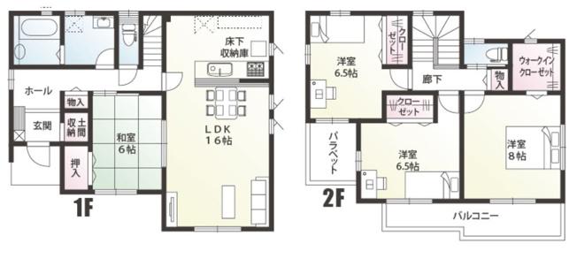 B号棟 4LDK+SIC+WIC 和室はリビングを通らずに直接出入りできるので客間として利用できます。