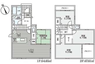 【1号棟】間取りです♪建物面積:102.26㎡!ゆったりとした4LDKの間取りです♪ファミリー様におすすめの間取りです(^^)二面バルコニーで開放的な室内!