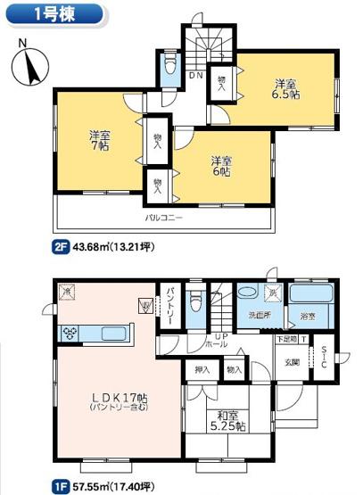 1号棟 4LDK+SIC 和室は玄関から直接出入りできるので客間として使えます。