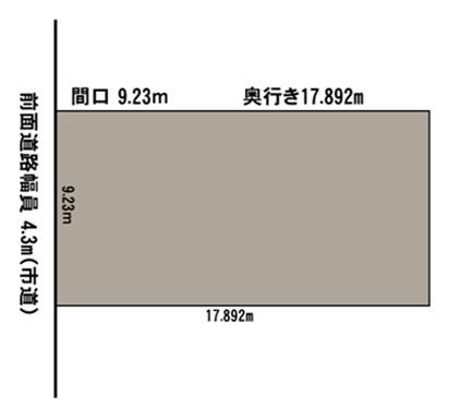土地図、接道間口は9.23mです