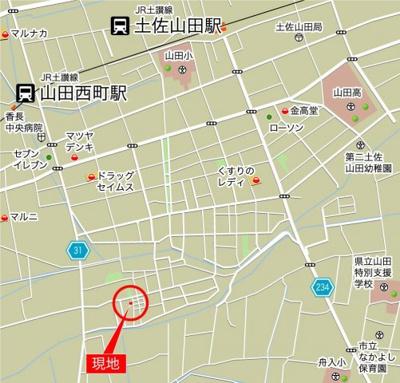 【地図】香美市土佐山田町黒土