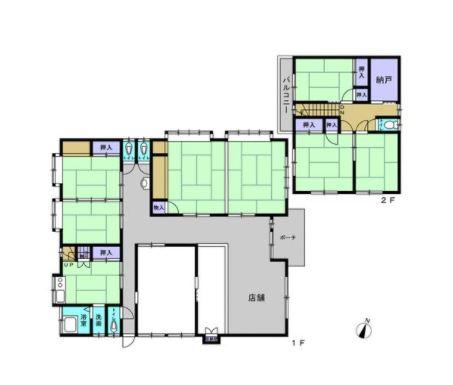 8SK 部屋数の多さが魅力の店舗兼居宅ですが、店舗部分をフリースペースに変更し、居宅へと間取り変更します。