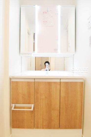独立洗面台 三面鏡付き 収納充実