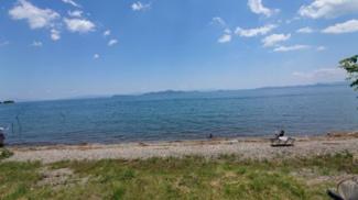 目の前が琵琶湖です。