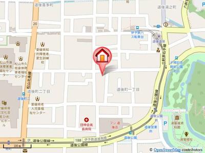 【地図】ベルジュ道後