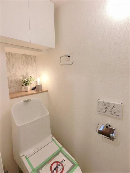 清潔感のあるトイレです 上段収納有り