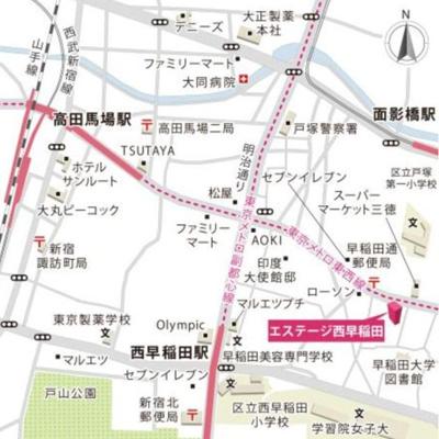 【地図】エステージ西早稲田