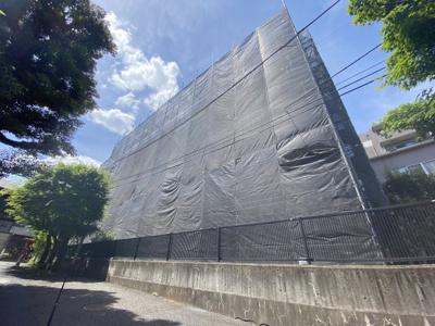 エステージ西早稲田の外観☆外壁作業中