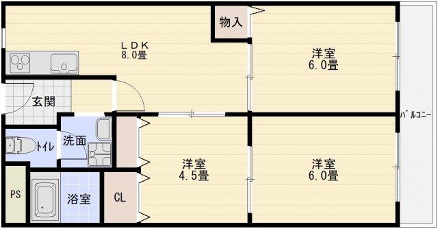 メゾンドルチェ伸和(柏原市法善寺) 3DK