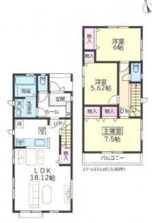 習志野市新栄 新築戸建て 京成大久保駅 3LDKの間取りです