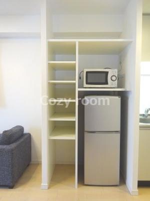 冷蔵庫付きです。(家具家電の内容は、各部屋で異なる場合もあります。)