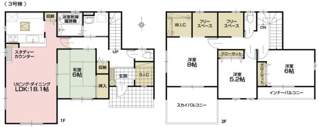 1号棟 4LDK+SIC+WIC+フリースペース×2 フリースペースは生活スタイルに応じて使えます。