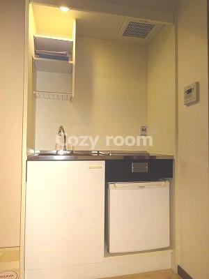 ミニ冷蔵庫付きのシステムキッチンです。