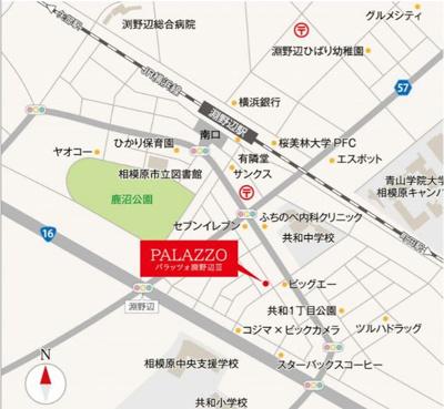 【地図】パラッツォ淵野辺Ⅲ
