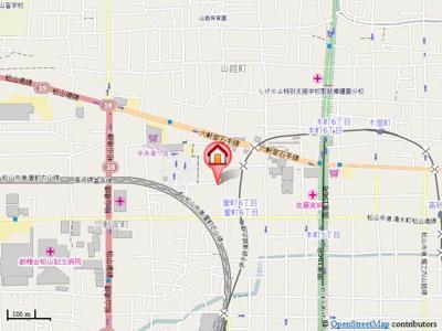 【地図】ハイツ萱町