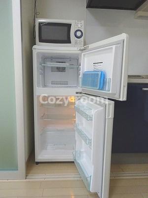 2ドア冷蔵庫と電子レンジ付きです。