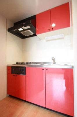 グリル付きの2口ガスのシステムキッチン。