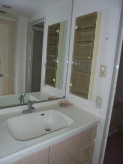 大きな鏡のある洗面台