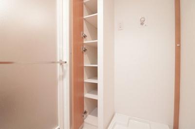 洗面室の収納はリネン類や洗剤などをすっきり収められます。