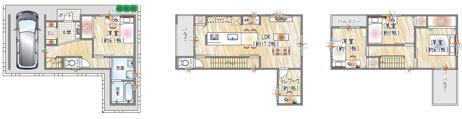 【1号地参考プラン例】 3階建て×4LDK×書斎(テレワーク) LDKにミニ書斎♪今の時代にあった快適設計をプラスした必見の間取り! 自由設計も対応しているのでご家族の理想のマイホームを実現できます。
