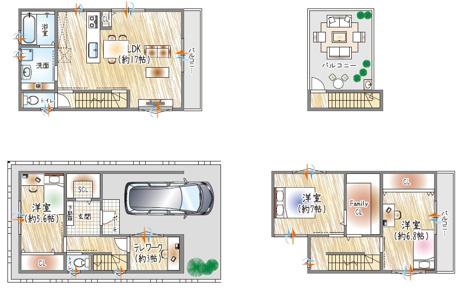 【4号地参考プラン例】 3階建て×3LDK×屋上プラン×書斎 屋上のある生活をプラス!家族だけのプライベート空間。 テレワーク(在宅勤務)にも対応。  自由設計対応!ご家族の理想のマイホームを実現♪