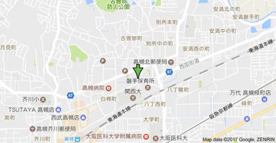 【地図】ダンディーA(エース) スモッティー阪急高槻店