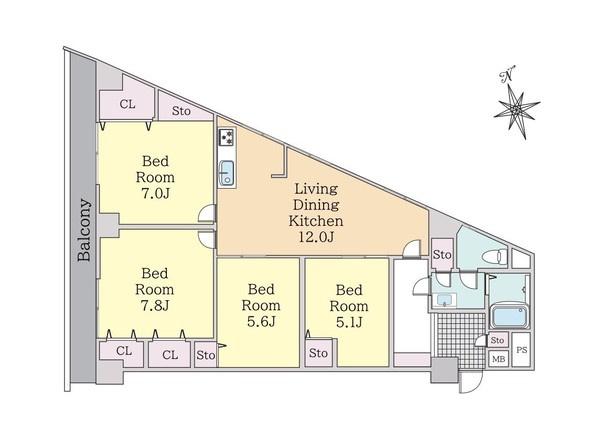 5階角部屋ですので陽当たり・眺望良好です!!