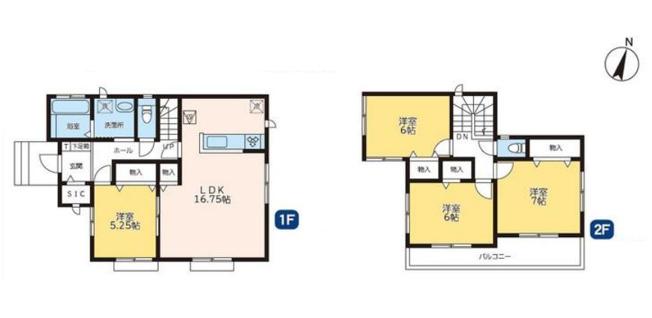1号棟 4LDK+SIC 全居室フローリングのおうちでお掃除やお手入れもラクラクですよ。