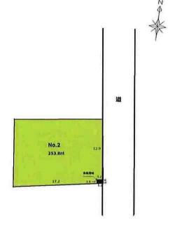 【土地図】川越市石田 建築条件なし売地 東武東上線『川越駅』バス16分 【山田小学区】