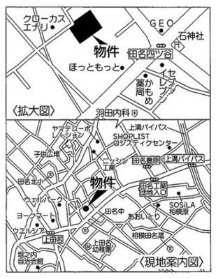 【地図】JR相模線 上溝駅 中央区田名 新築戸建て 6号棟