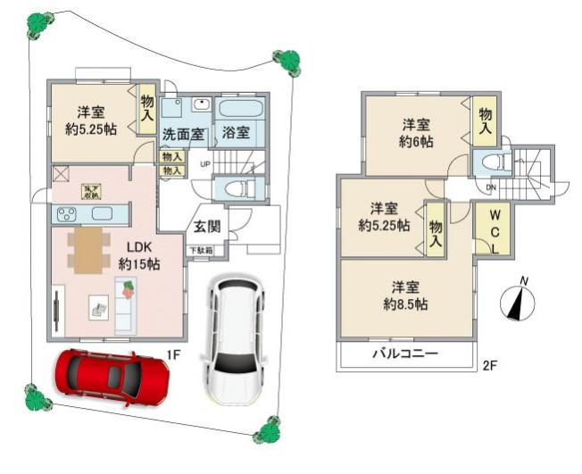 駐車2台可能 LDK約15.0帖 全居室収納 WICあり 玄関ポーチ 全居室洋室