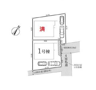 【区画図】国分寺市内藤2丁目 全2棟 1号棟 仲介手数料無料