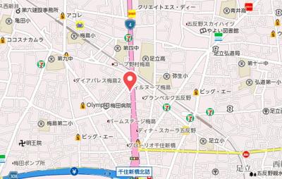 【地図】グランクオール五反野