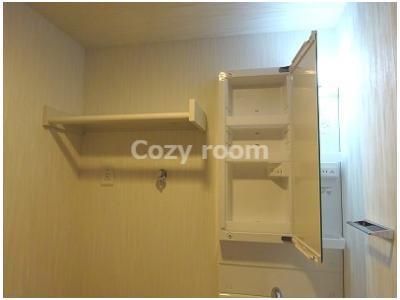 洗面台上部の収納スペース及び棚です。