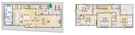 【6号地参考プラン例】 2階建て×4LDK LDKひろびろ約20.6帖!各居室収納あり♪  自由設計も対応!ご家族の理想のマイホームを実現できます。