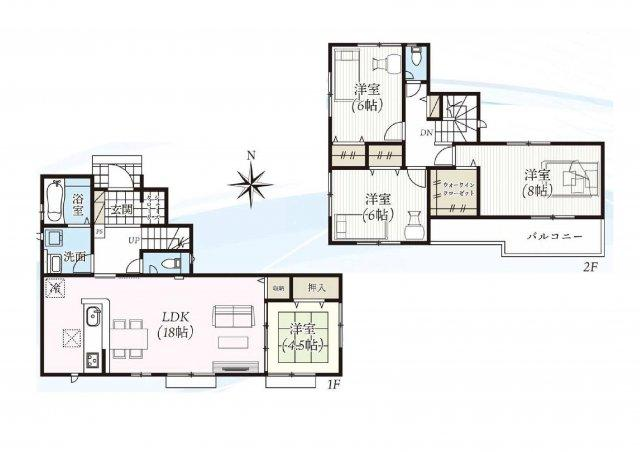 建物面積31.43坪 広々18帖のLDK♪シューズインクローク・ウォークインクローゼット・各部屋収納付きで便利です!