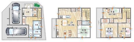 【12号地参考プラン例】 3階建て×4LDK×駐車2台可能 LDKは和室が隣接。ライフスタイルやシーンに合わせてお使い頂けます。  \フリープラン対応(自由設計)/